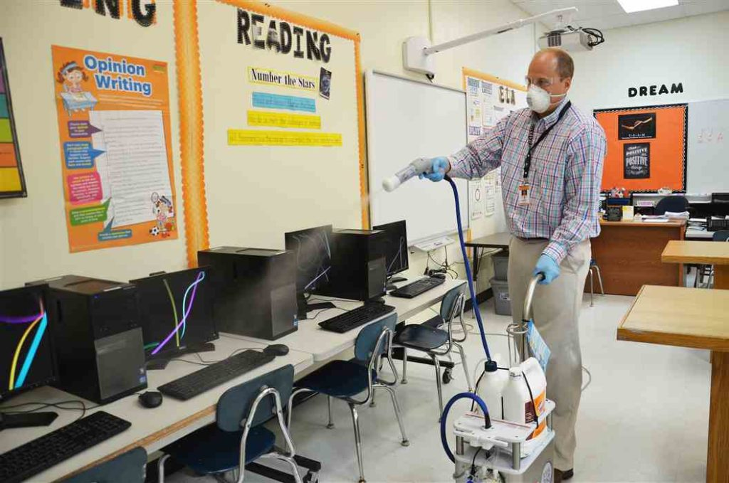 Disinfectant Cleaning in school